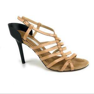DVF Strappy Heels w/ Contrast Heel